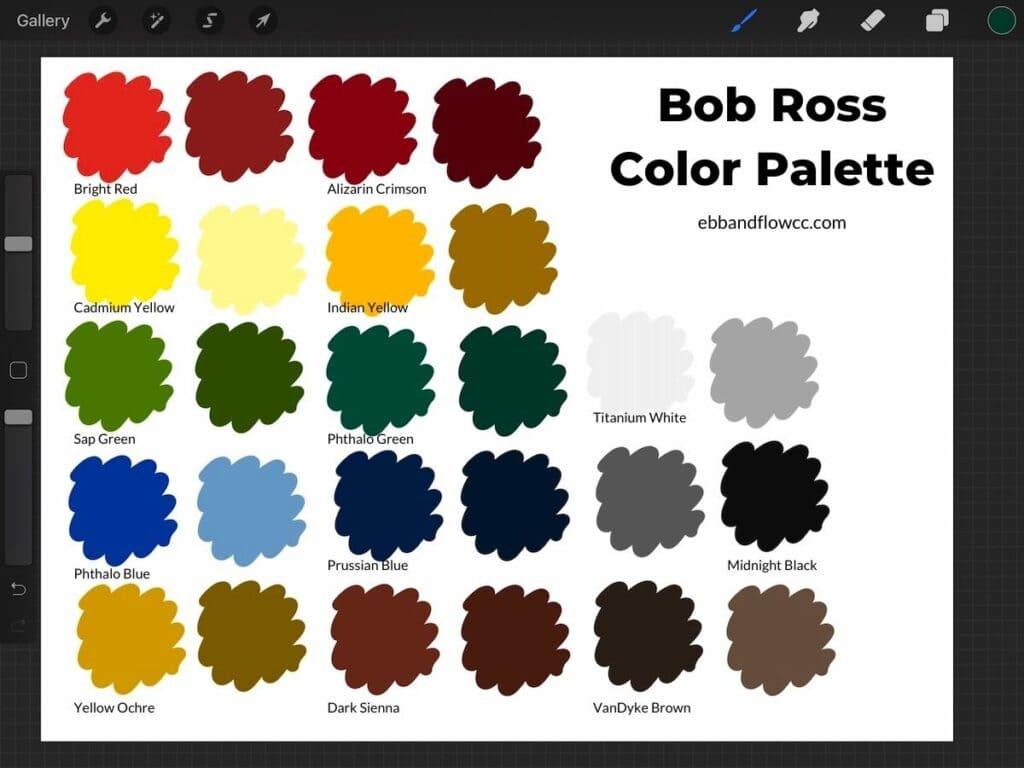 Bob Ross color palette