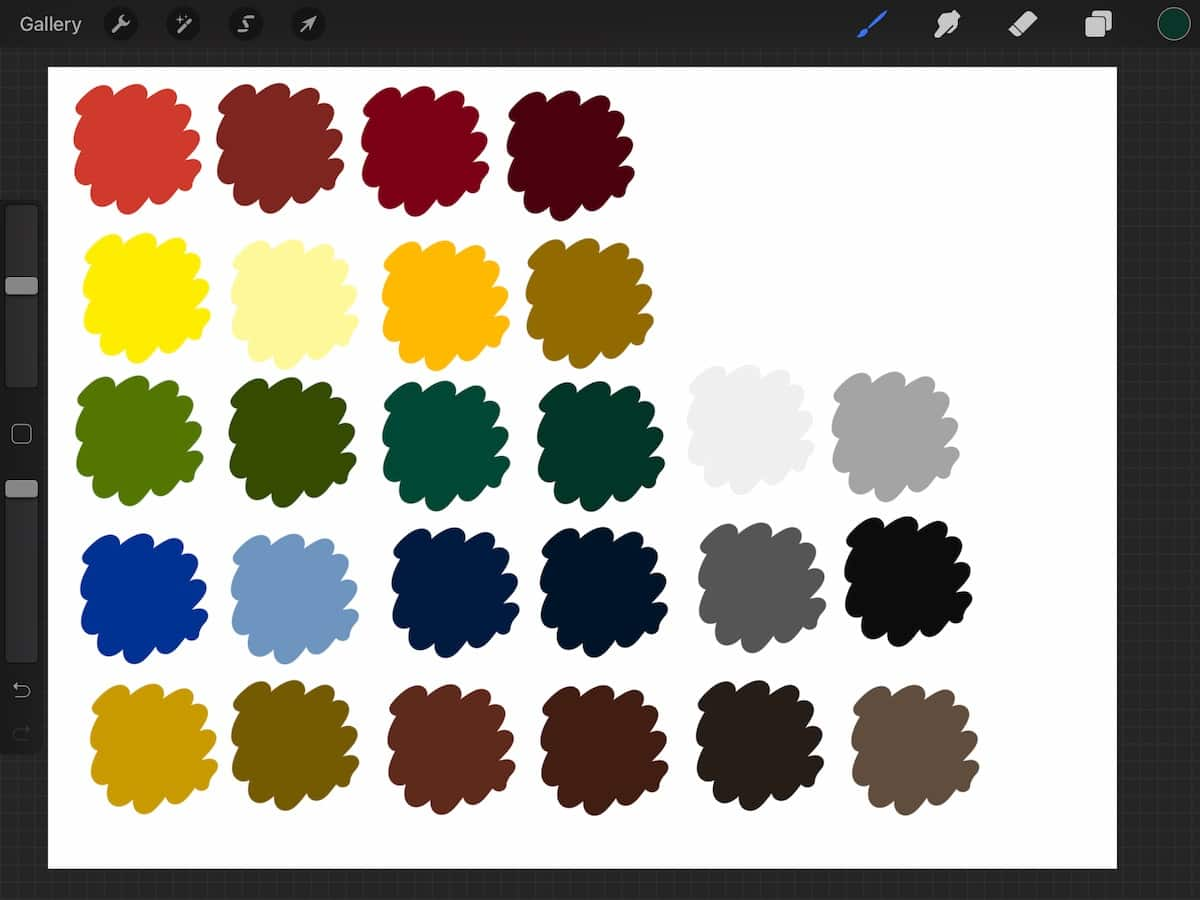 color swatches fro Procreate inspired by Bob Ross