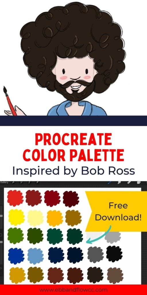 pin image - collage os color swatches and illustration of Bob Ross