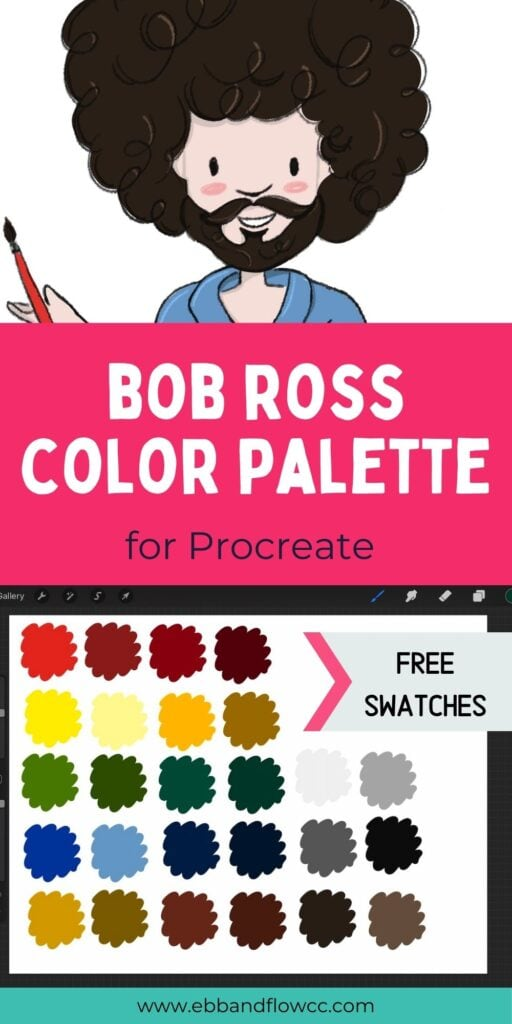 pin image - collage of Bob Ross illustration and color swatches