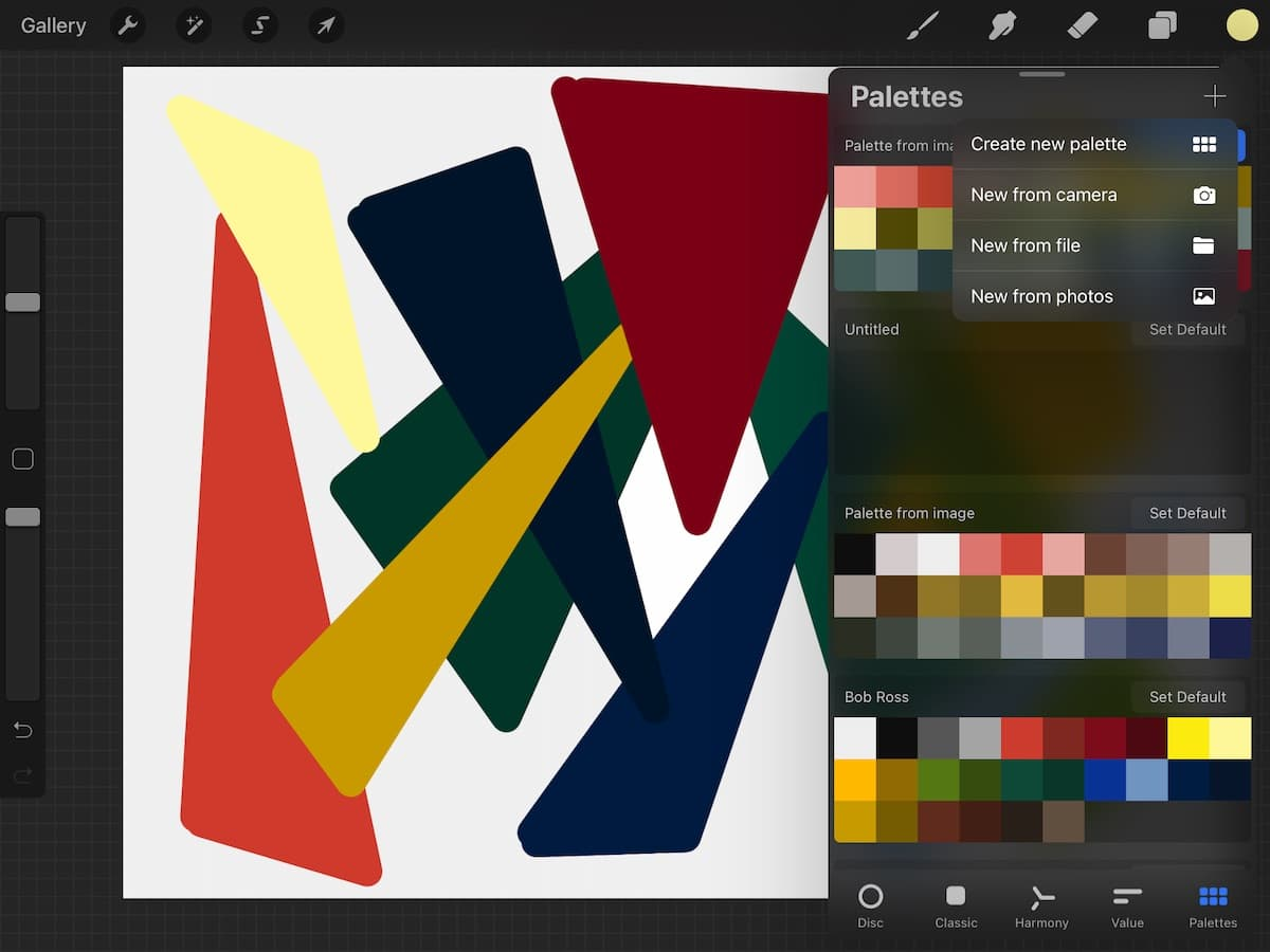 new options for making a color palette from photos
