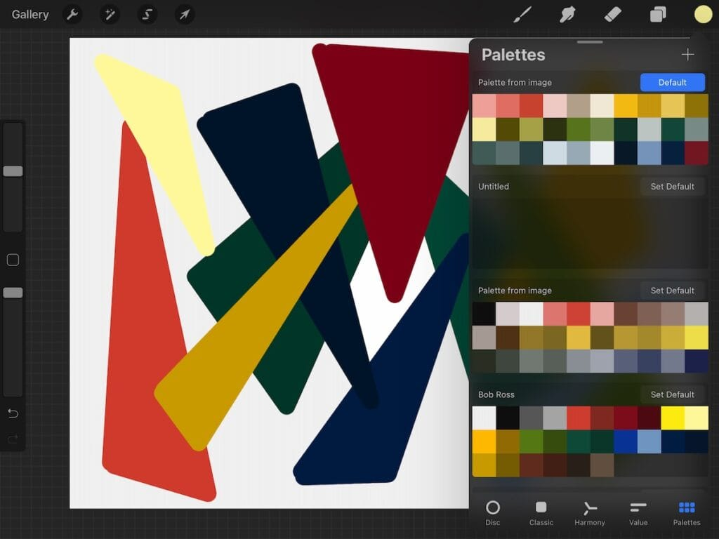 palette created from art on screen