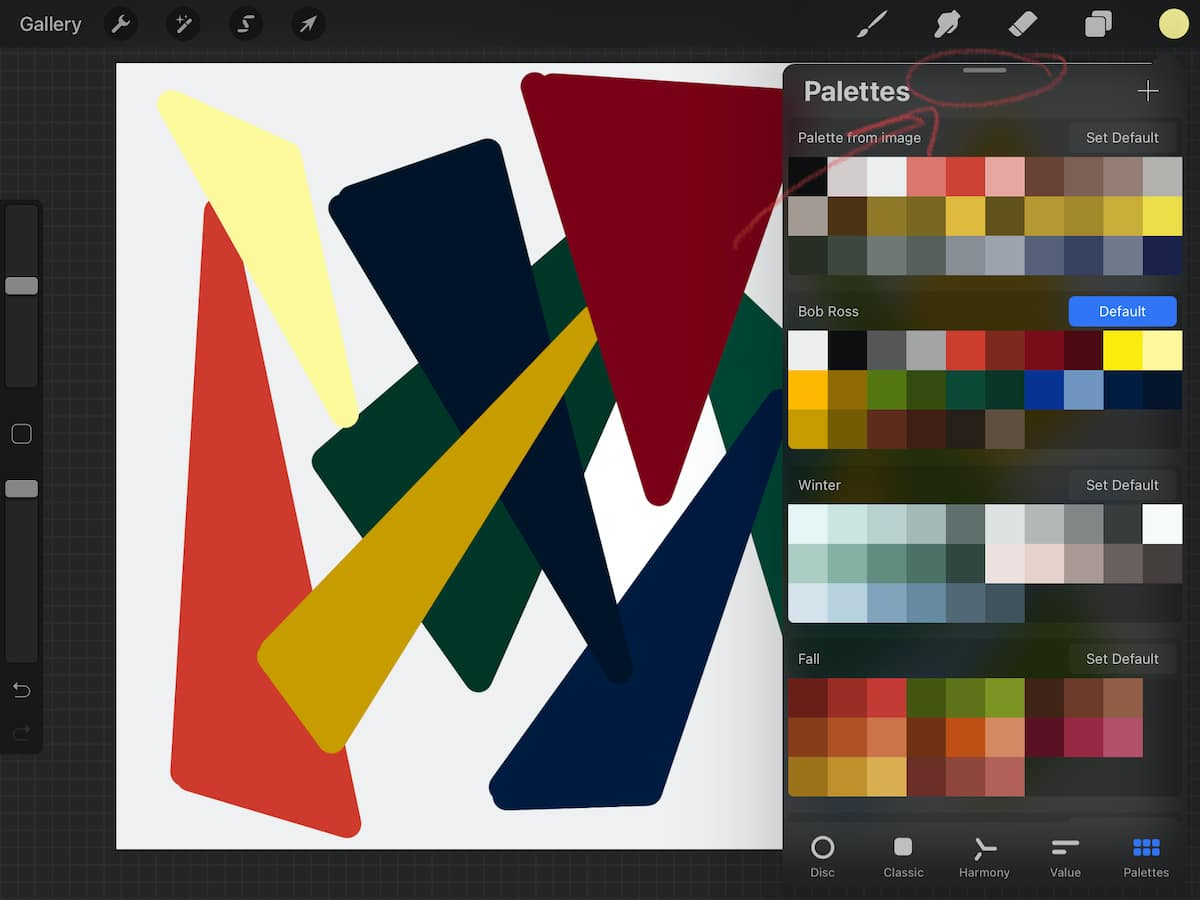 how to detach color palette menu
