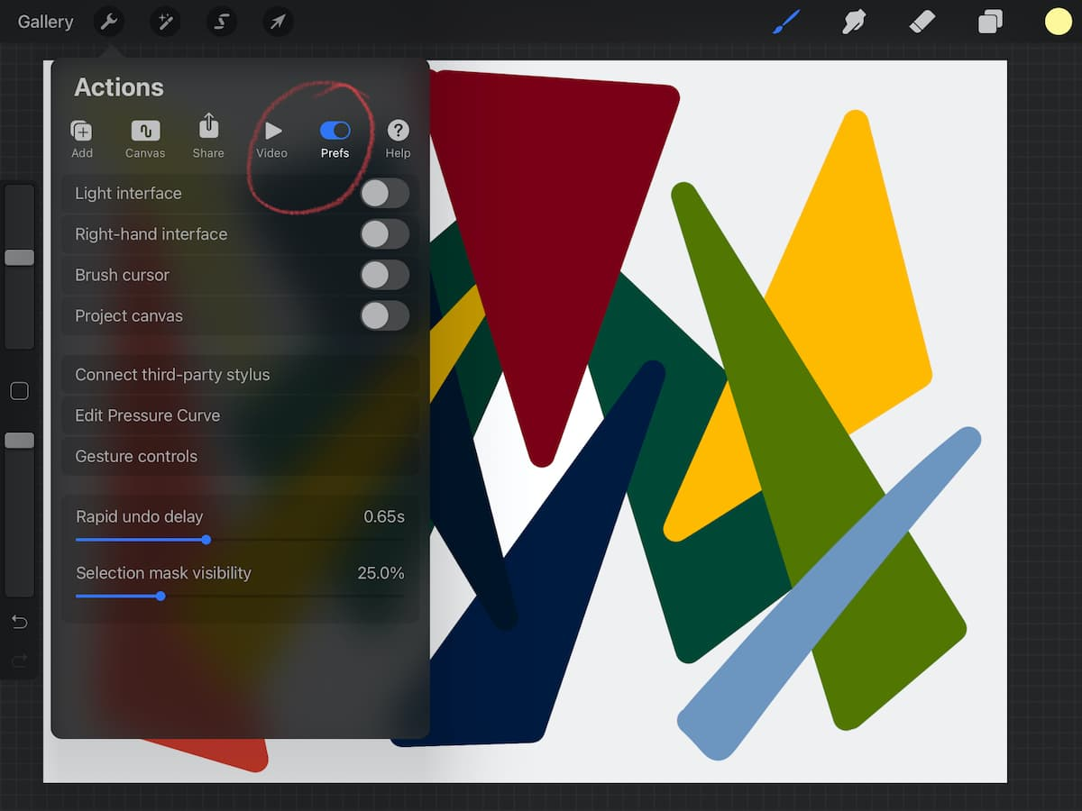 changing preferences in procreate