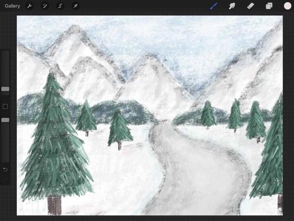 winter landscape illustration created in procreate