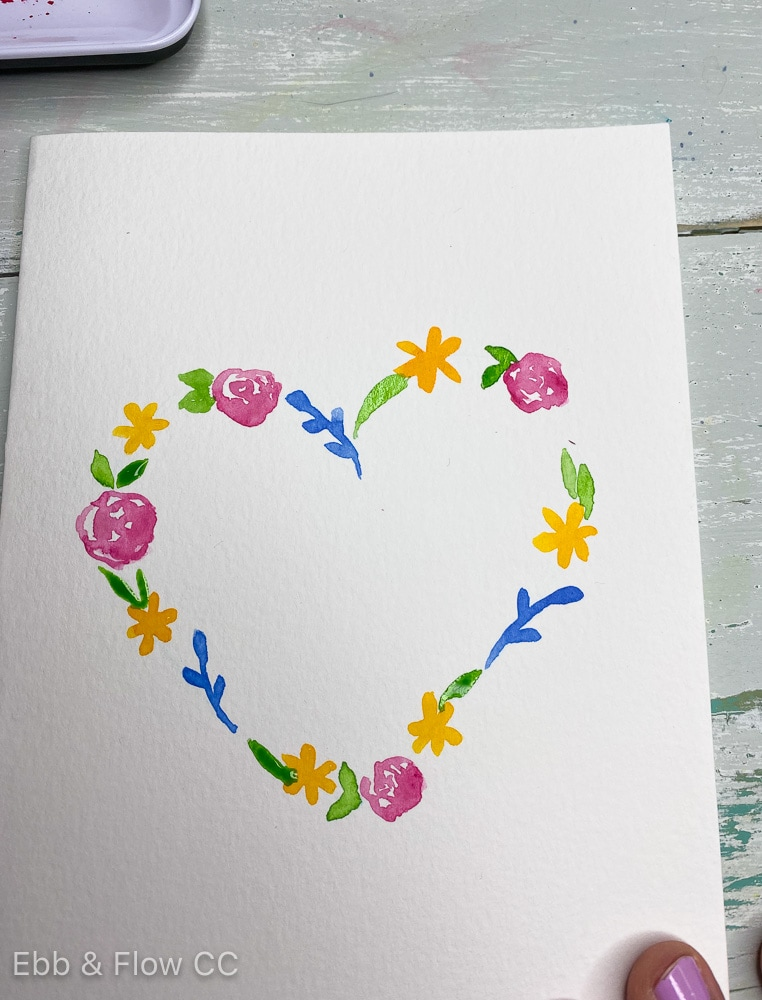 floral painted heart shape
