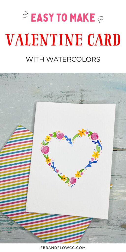 pin image - floral watercolor heart card with striped envelope
