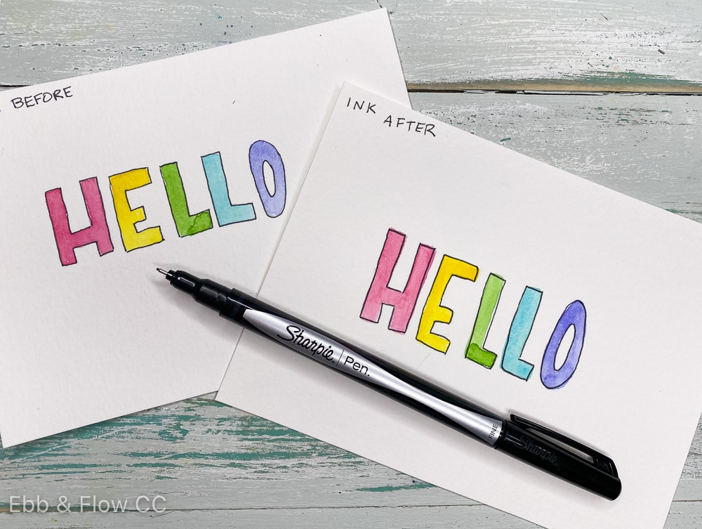 "hand-lettered watercolor cards that say ""hello"""