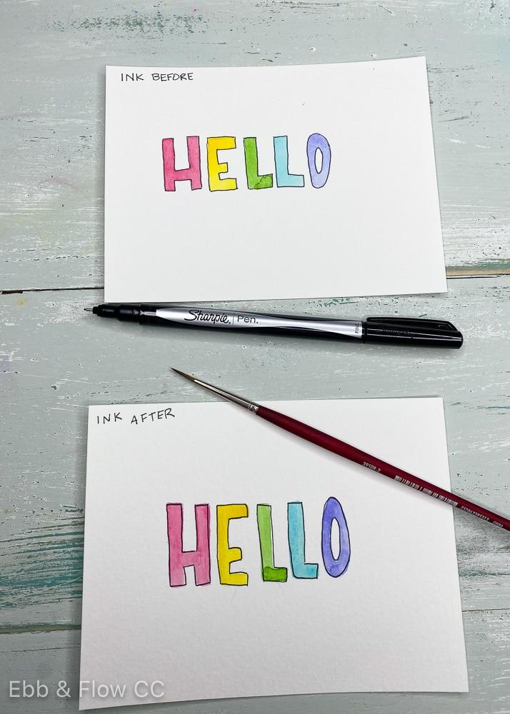 """watercolor """"hello"""" cards"""