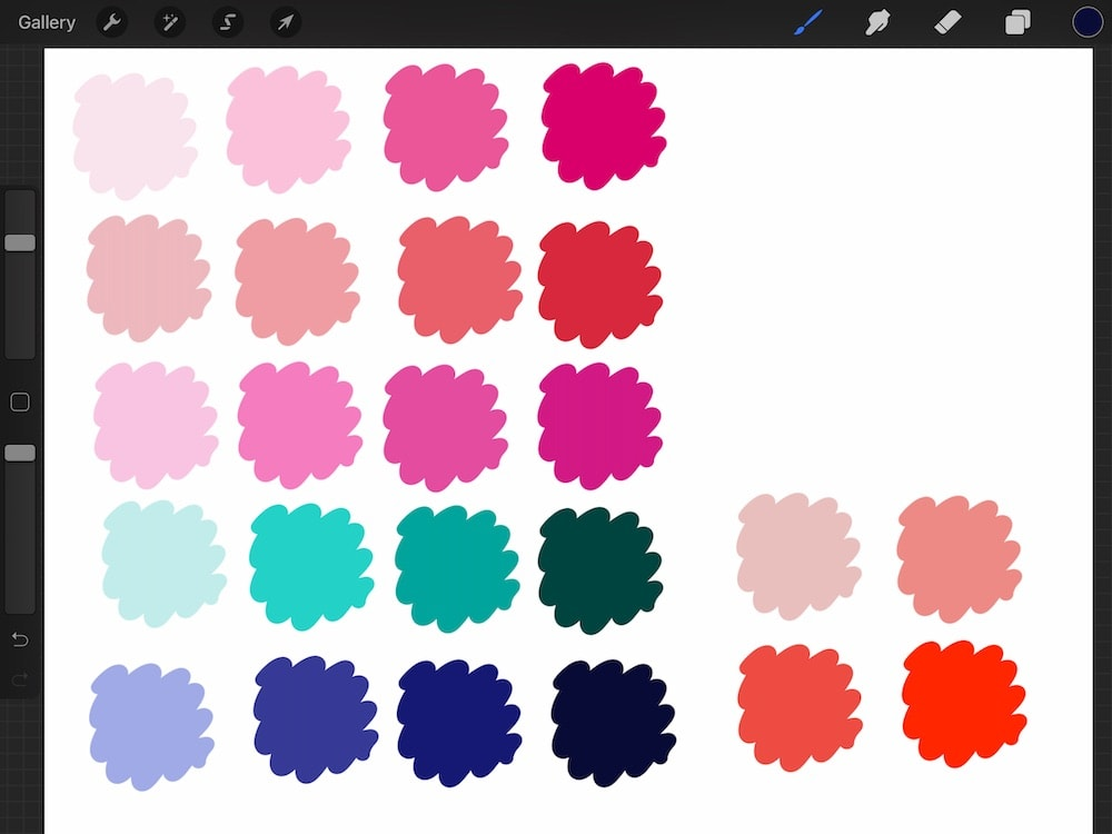 color palette with pinks, reds, teals and blues