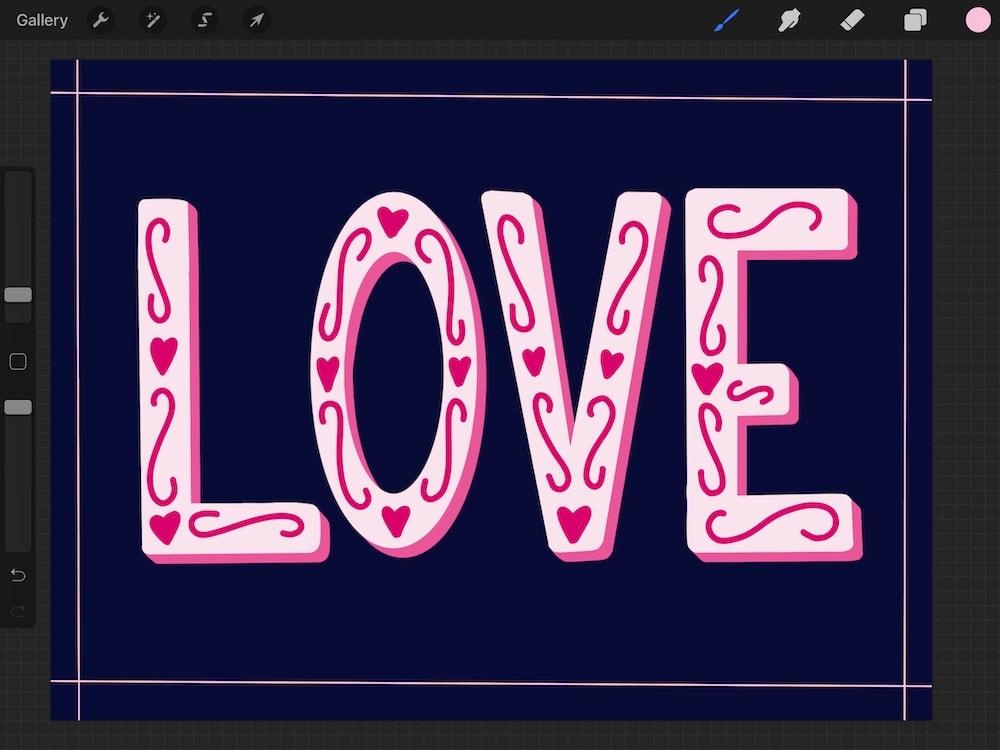 "hand-lettered ""Love"" illustration"