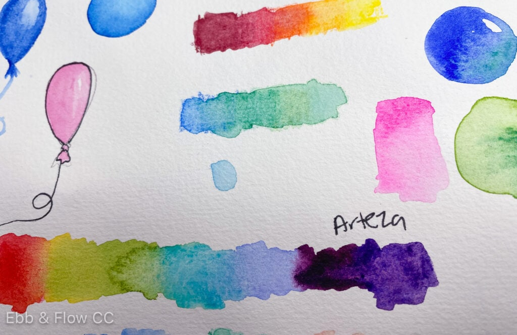 watercolor swatches on paper