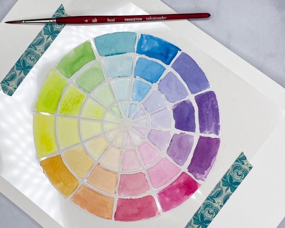 close up of watercolor color wheel stencil