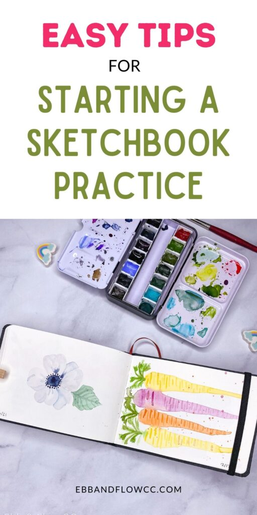 pin image - sketchbook with paintings of flower and carrots