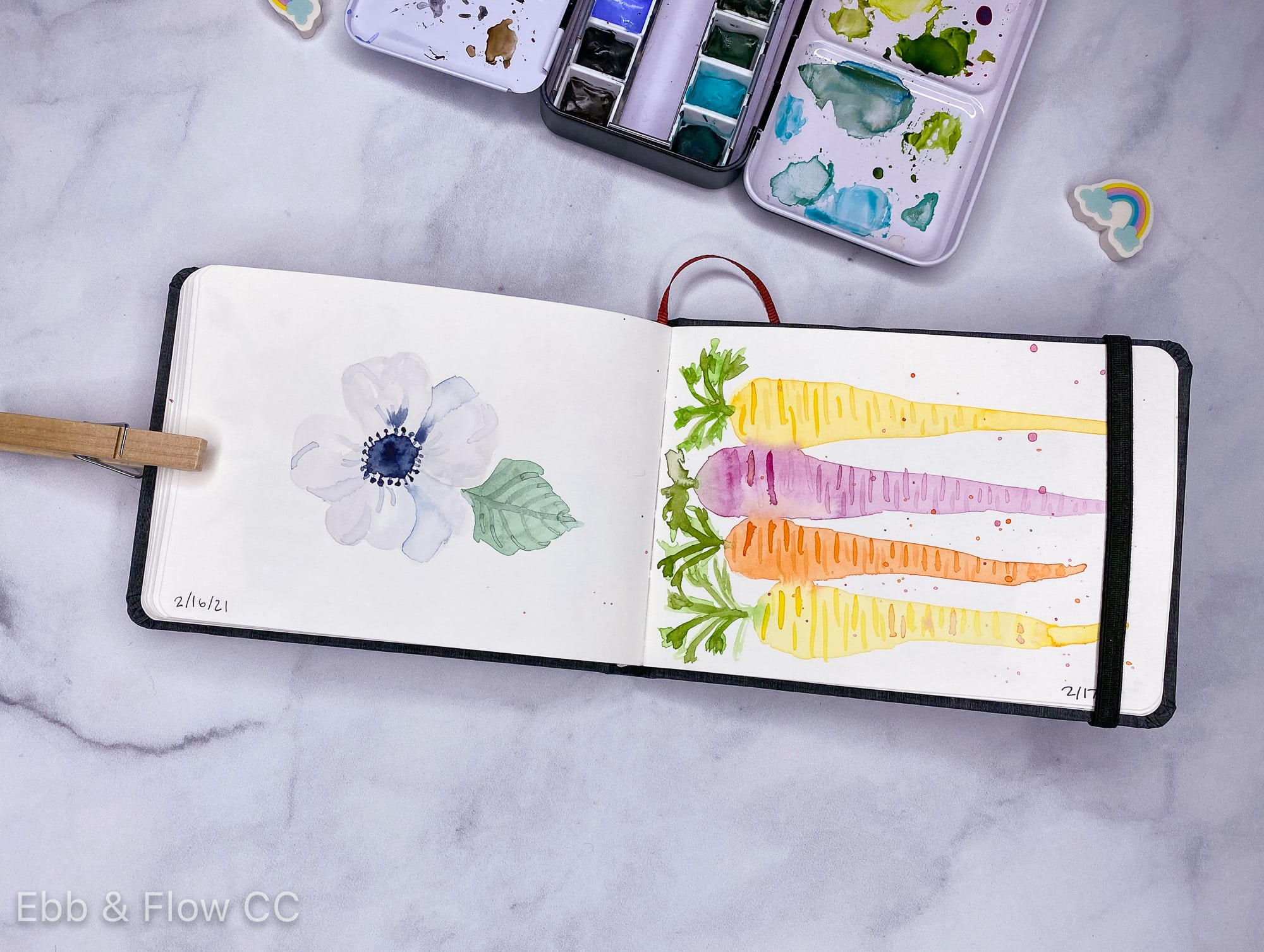 watercolor sketchbook painting of anemone and carrots