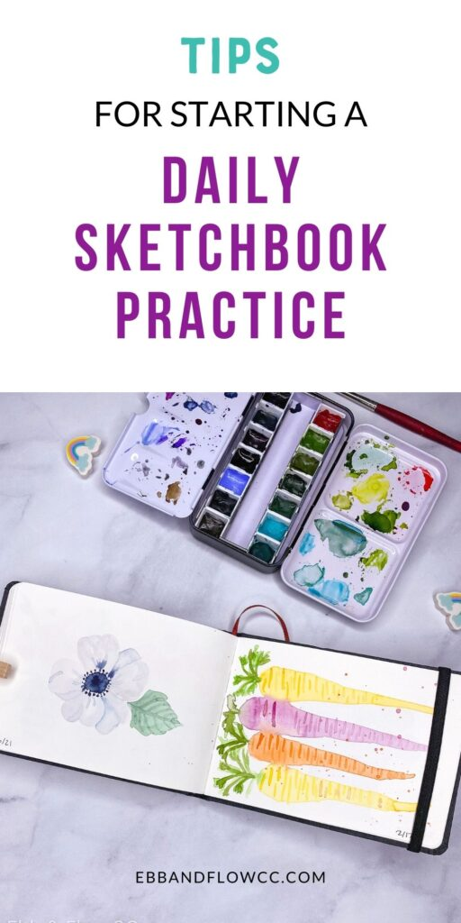 pin image - watercolor sketchbook with painting of flower and carrots