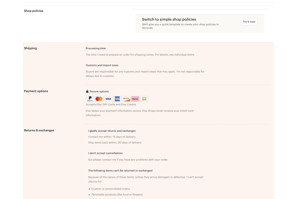 screenshot of adding policies to etsy shop