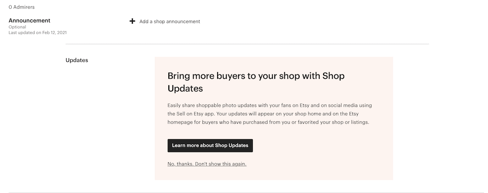 screenshot of shop announcement on etsy
