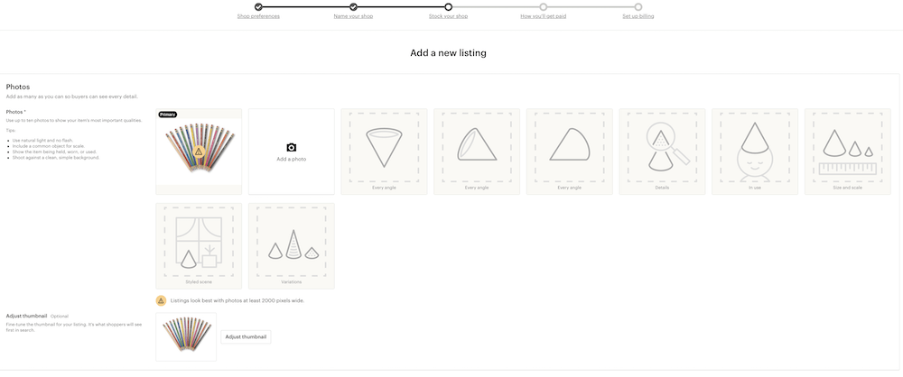 screenshot of listing item on etsy