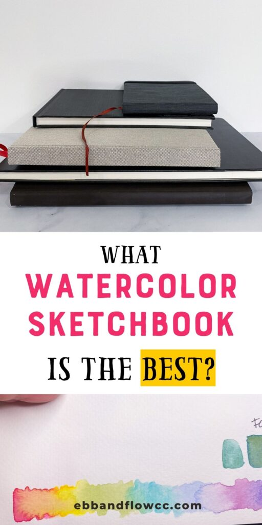 collage of watercolor sketchbooks and rainbow gradient with watercolor paint