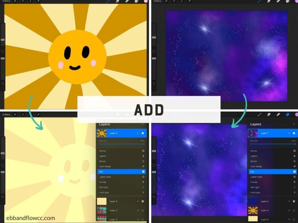 add mode on sun and night sky illustrations