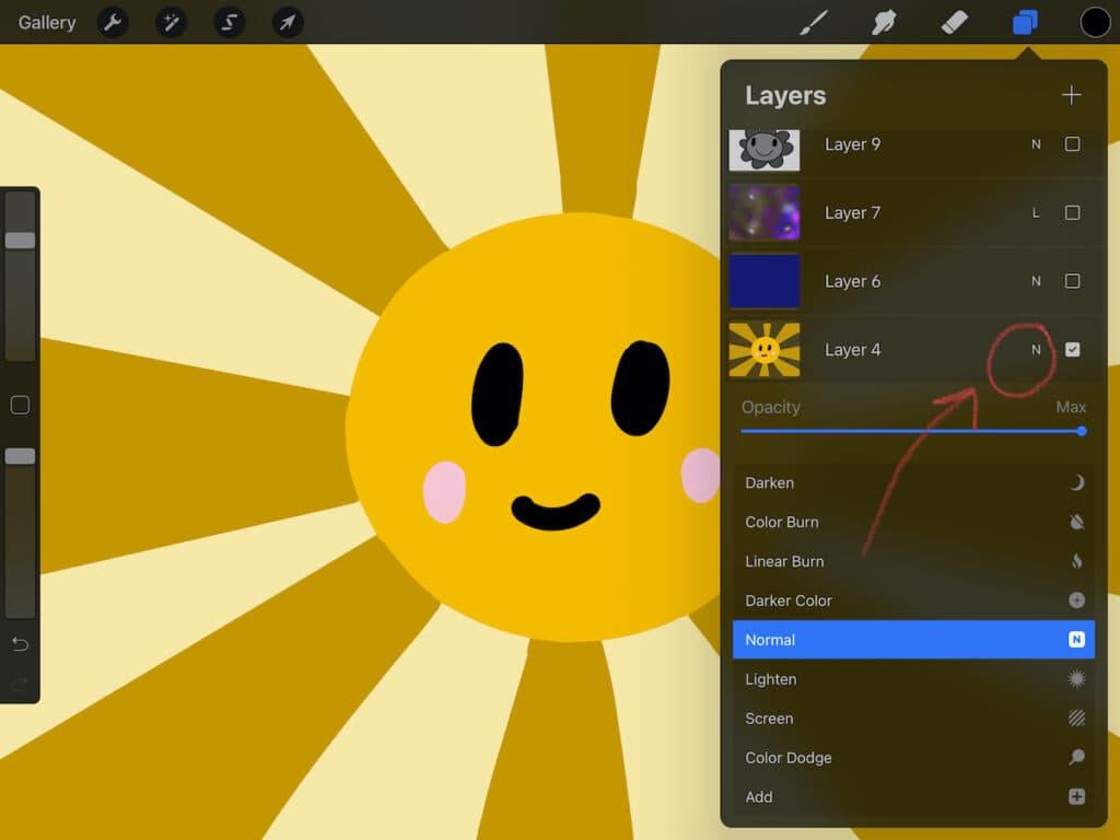 illustration of sun in Procreate app