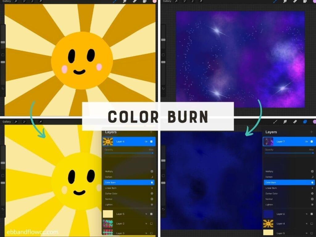 procreate color burn in illustrations