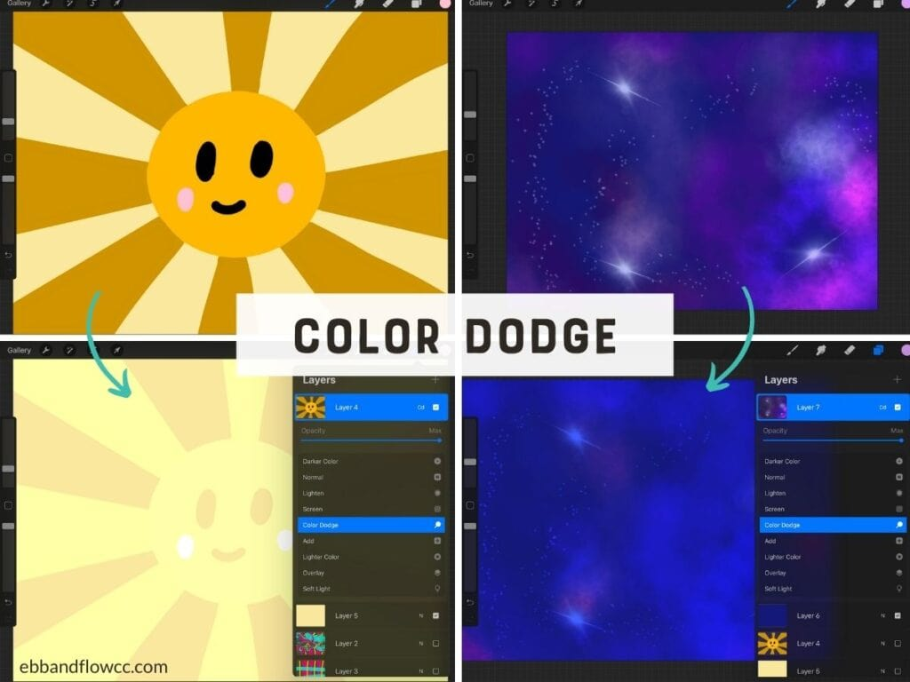 color dodge on sun and galaxy illustrations