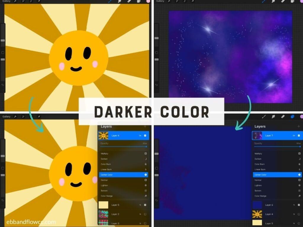 blend mode darker color illustration