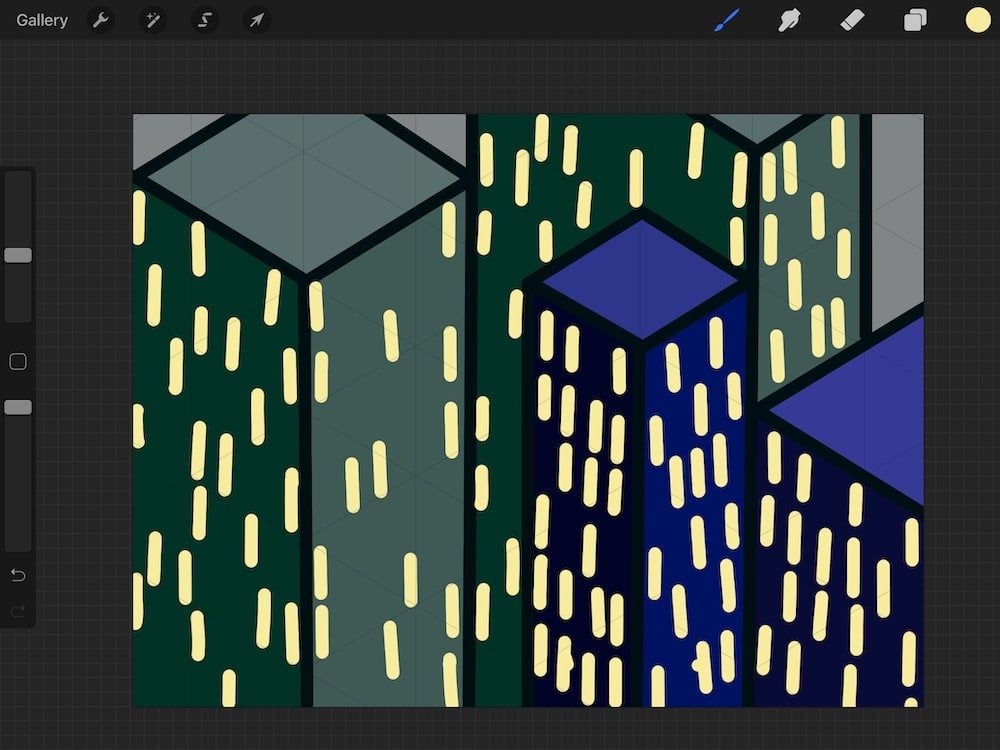 simple cityscape illustration with drawing guide