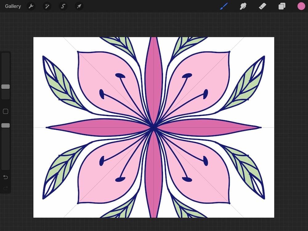 flower illustration using radial drawing guide