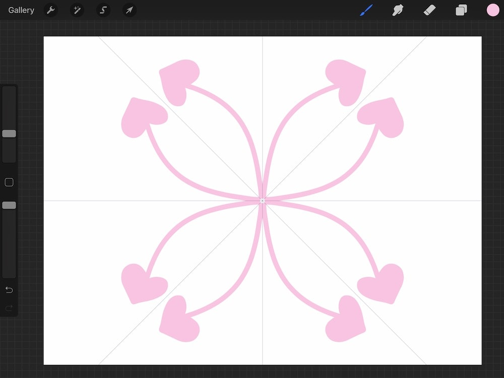 heart doodles without radial symmetry