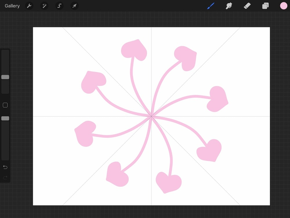 heart doodles with radial symmetry on