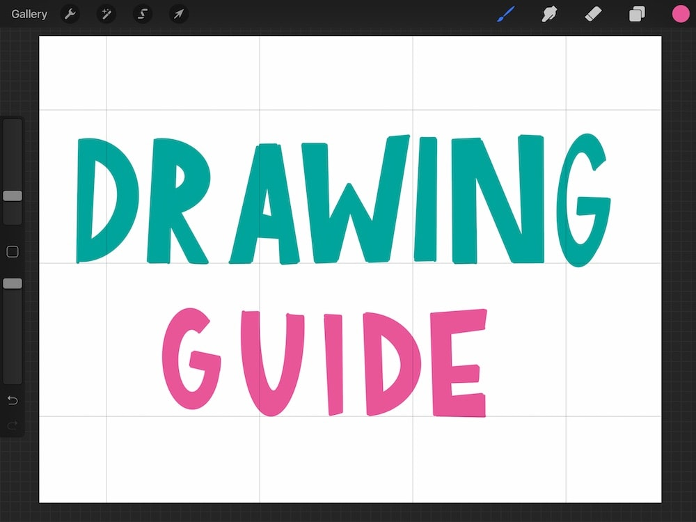 using drawing guide for hand lettering in procreate