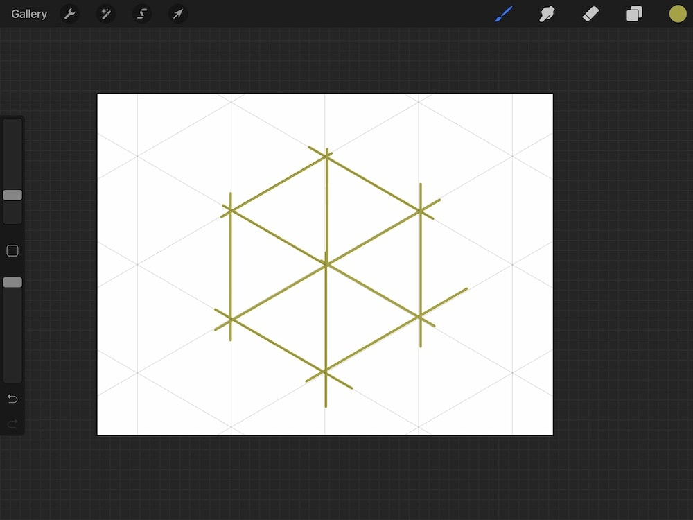 using drawing assist to create hexagon shape in procreate
