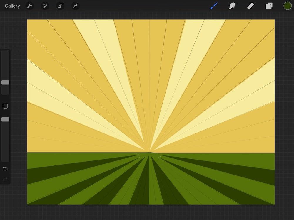 illustration of sunset over field