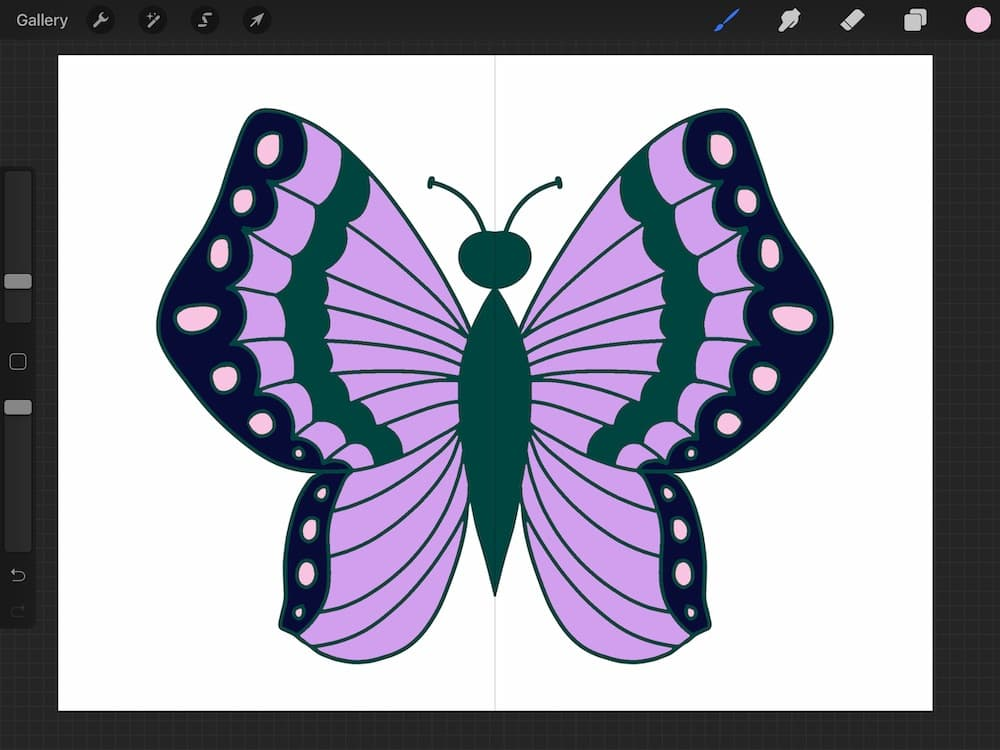 butterfly illustration with symmetrical drawing guide