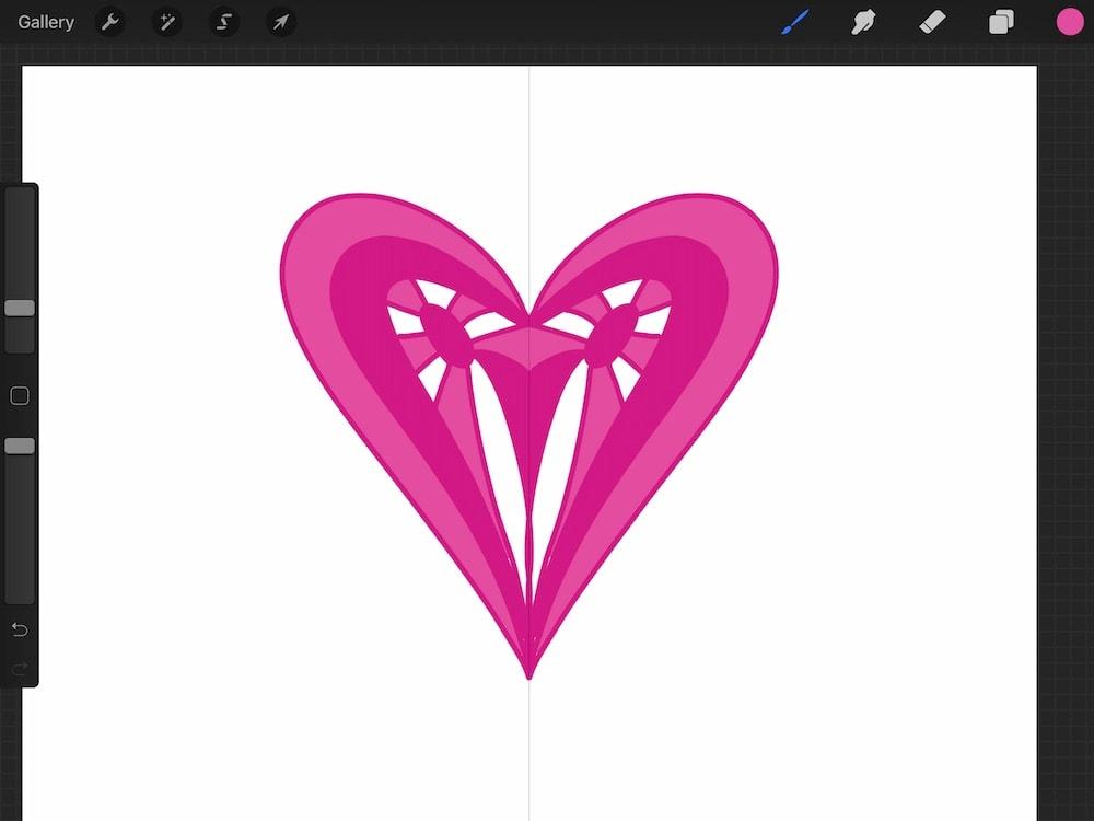 symmetrical heart illustration in procreate