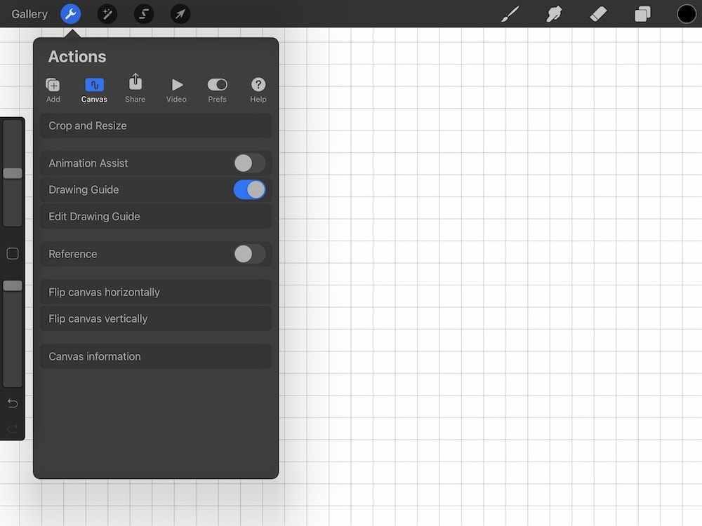 screenshot of drawing guide location in Procreate