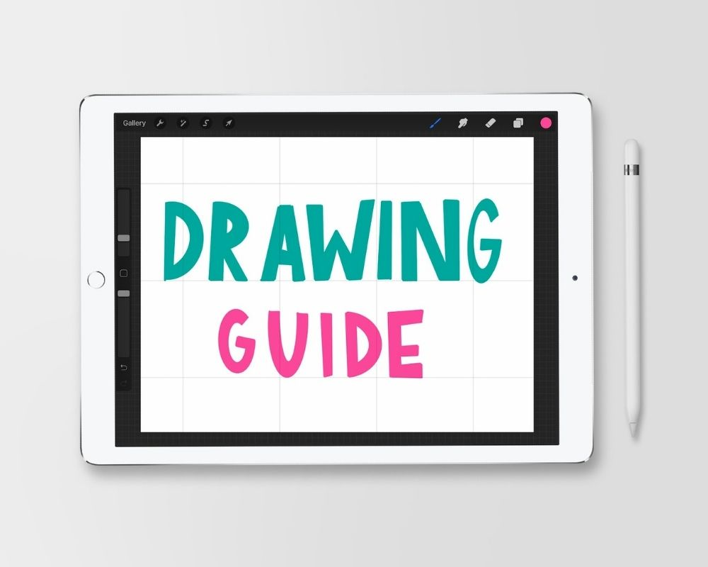 "ipad with hand-lettered ""drawing guide"""