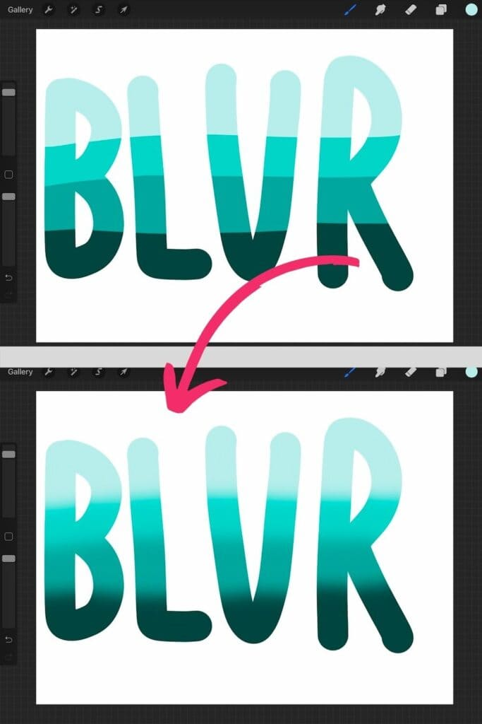 """before and after screenshot of gaussian blue on lettered word """"blur"""""""