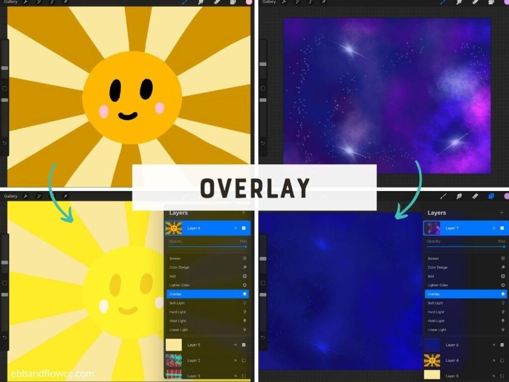 overlay mode on sun and galaxy illustrations