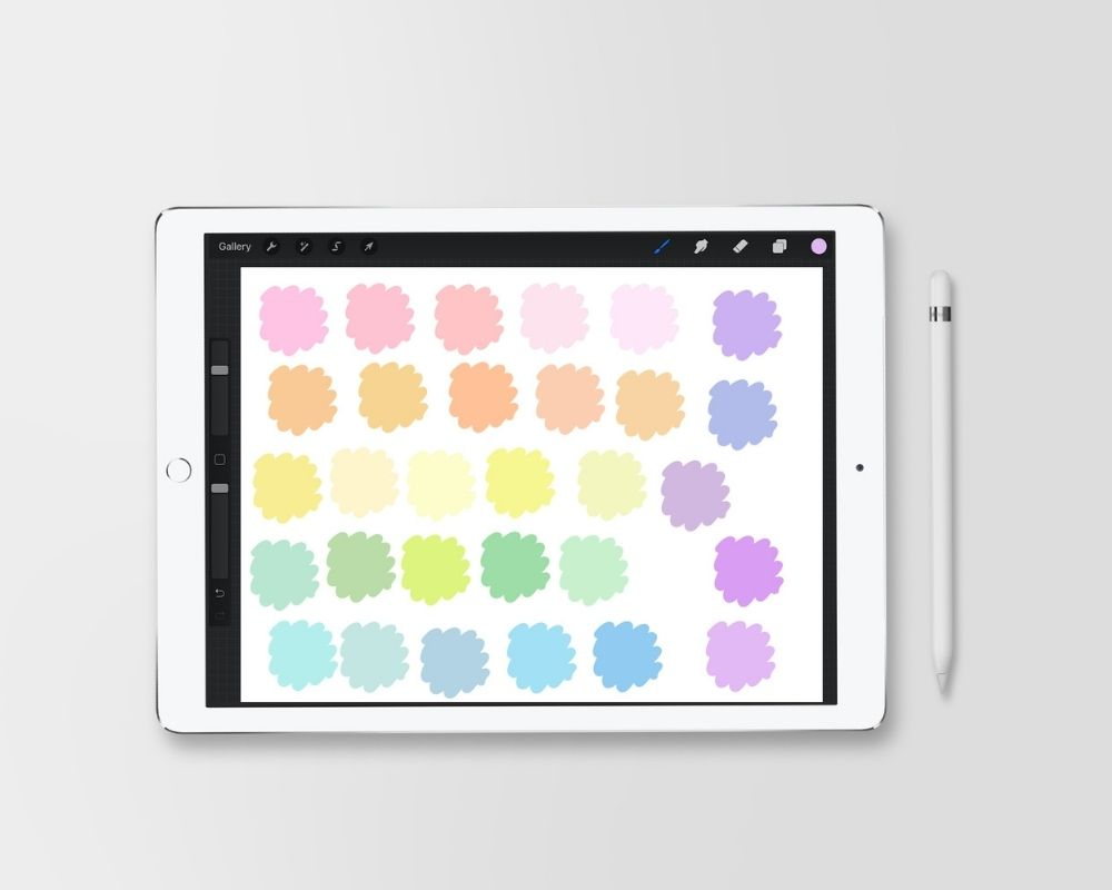 ipad with pastel color palette