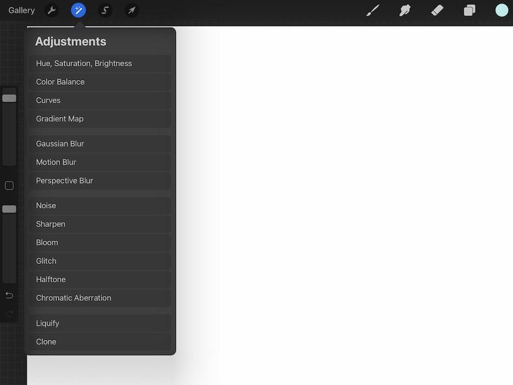 screenshot of adjustment panel