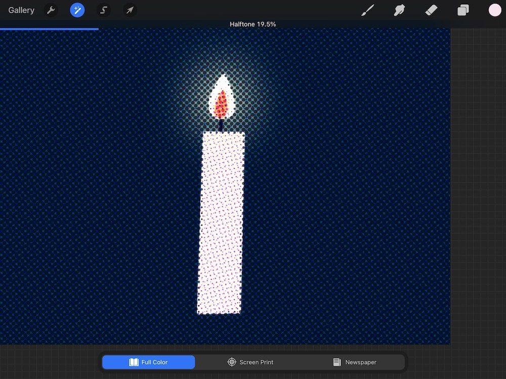 full color half tone on candle illustration