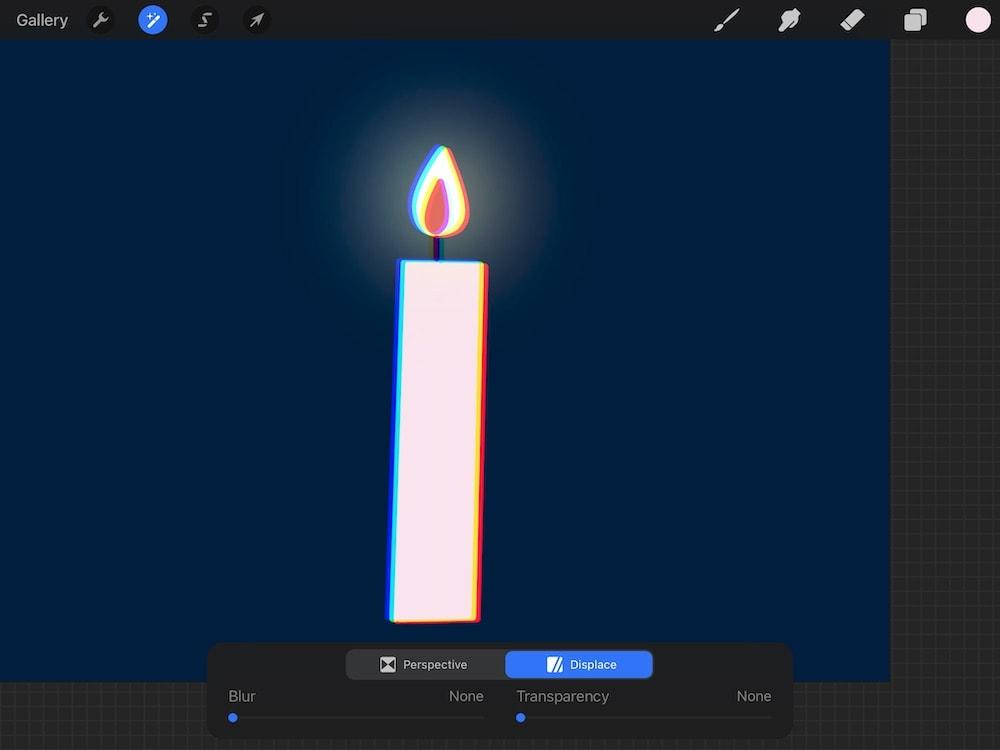 subtle chromatic aberration of candle illustration