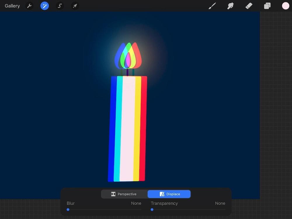 chromatic aberration on candle illustration