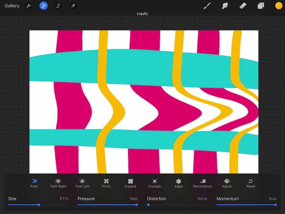 liquify push effect in procreate on plaid drawing