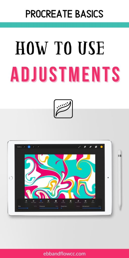 ipad with swirly art in pink, teal, and yellow