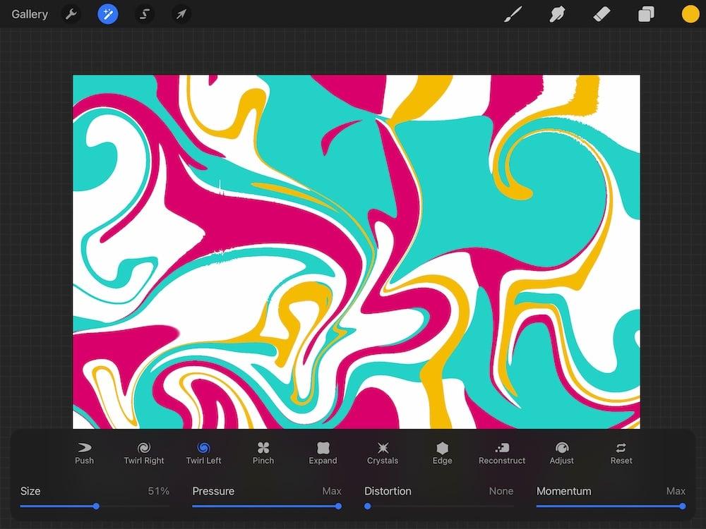 swirled art in procreate using liquify